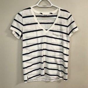 Whisper cotton navy white stripe pocket tee